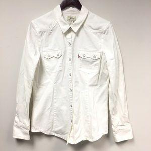 Levi's White Denim Pearl Snap Western Shirt